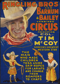 """Tim McCoy / Ringling Bros. Barnum and Bailey Circus Poster (Ringling Bros, 1937). Poster (18"""" X 25.5""""). Wester..."""