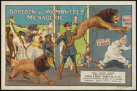 """Bostock & Wombwell's Circus Poster (Bostock and Wombwell's, early 1900s). Poster (20"""" X 30""""). Miscellaneou..."""