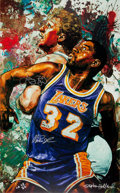 Basketball Collectibles:Others, Circa 2000 Larry Bird & Magic Johnson Signed Giclee by StephenHolland....