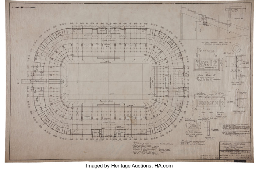 1929 30 notre dame stadium original drawings and blueprints lot football collectiblesothers 1929 30 notre dame stadium original drawings and blueprints lot malvernweather Gallery