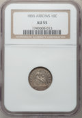 Seated Dimes: , 1855 10C Arrows AU55 NGC. NGC Census: (6/76). PCGS Population(6/61). Mintage: 2,075,000. Numismedia Wsl. Price for problem...