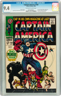 Silver Age (1956-1969):Superhero, Captain America #100 (Marvel, 1968) CGC NM 9.4 Off-white to white pages....