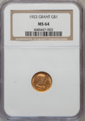Commemorative Gold: , 1922 G$1 Grant No Star MS64 NGC. NGC Census: (289/617). PCGSPopulation (539/951). Mintage: 5,000. Numismedia Wsl. Price fo...