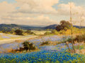 Texas:Early Texas Art - Regionalists, ROBERT WILLIAM WOOD (American, 1889-1979). Bluebonnets in theHill Country. Oil on canvas. 18 x 24 inches (45.7 x 61.0 c...