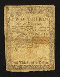 Colonial Notes:Continental Congress Issues, Continental Currency February 17, 1776 $2/3 Very Good-Fine.. ...