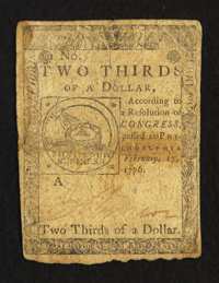 Continental Currency February 17, 1776 $2/3 Very Good-Fine