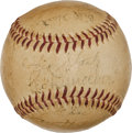 Autographs:Baseballs, 1945 Brooklyn Dodgers Team Signed Baseball in Vintage Display....