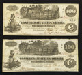 Confederate Notes:1862 Issues, T39 $100 1862. Two Examples.. ... (Total: 2 notes)
