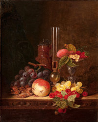 PROPERTY FROM A DALLAS PRIVATE COLLECTION  EDWARD LADELL (British, 1821-1886) Still Life with Ceramic Jug