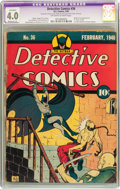 Golden Age (1938-1955):Superhero, Detective Comics #36 (DC, 1940) CGC Apparent VG 4.0 Moderate (P) Off-white to white pages....