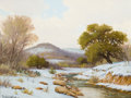 Paintings, PORFIRIO SALINAS (American, 1910-1973). Hill Country in the Snow. Oil on canvas . 12 x 16 inches (30.5 x 40.6 cm). Signe...