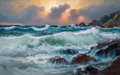 Fine Art - Painting, American:Contemporary   (1950 to present)  , ALEXANDER A. DZIGURSKI (American, 1911-1995). High Tide atSunset. Oil on canvas. 30 x 48 inches (76.2 x 121.9 cm).Sign...