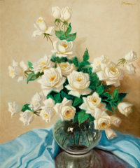 A. D. GREER (American, 1904-1998) Vase of Roses Oil on canvas 30 x 25 inches (76.2 x 63.5 cm)