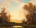 Texas:Early Texas Art - Regionalists, ROBERT WILLIAM WOOD (American, 1889-1979). Texas Sunset. Oilon masonite. 18 x 22 inches (45.7 x 55.9 cm). Signed lower ...