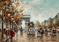 ANTOINE BLANCHARD (French, 1910-1988) A View of the Arc de Triomphe Oil on canvas 13 x 18 inches
