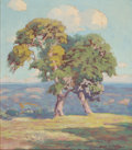Texas:Early Texas Art - Regionalists, HAROLD ARTHUR RONEY (American, 1899-1986). View with TwoTrees. Oil on canvas. 16 x 14 inches (40.6 x 35.6 cm). Signedl...