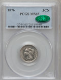 Three Cent Nickels, 1876 3CN MS65 PCGS. CAC....