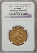 Liberty Eagles: , 1854-O $10 Small Date --Improperly Cleaned--NGC Details. XF. NGCCensus: (16/214). PCGS Population (28/85). Mintage: 52,500...