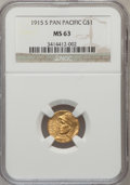 Commemorative Gold: , 1915-S G$1 Panama-Pacific Gold Dollar MS63 NGC. NGC Census:(476/2452). PCGS Population (985/3599). Mintage: 15,000. Numism...
