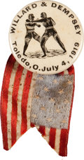 Boxing Collectibles:Memorabilia, 1919 Willard vs. Dempsey Pinback....