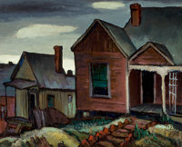 OTIS DOZIER (American, 1904-1987) Old Houses, McKinney Ave Dallas, 1932 Oil on canvas 16 x 20 in