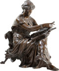 Sculpture, PROPERTY FROM A PRIVATE TEXAS COLLECTION. JEAN LOUIS GREGOIRE (French, 1840-1890). Young Woman with Lyre. Bronze with ...