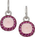 Estate Jewelry:Earrings, Diamond, Pink Sapphire, Rose Quartz, White Gold Earrings. ...