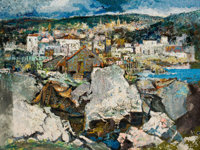 XAVIER GONZÁLEZ (American, 1898-1993) The Quarry, 1969 Oil on canvas 30 x 40 inches (76.2 x 101