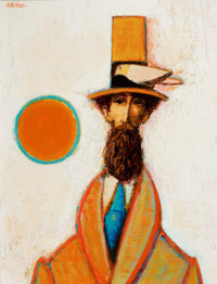 DAVID PRYOR ADICKES (American, b. 1927) Abstract Portrait of a Gentleman Oil on canvas 26 x 20 i