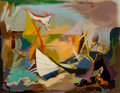 Texas:Early Texas Art - Modernists, CYNTHIA BRANTS (American, 1924-2006). Abstract Landscape withBoat. Oil on canvas board . 15-1/2 x 20 inches (39.4 x 50....