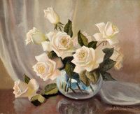 A. D. GREER (American, 1904-1998) White Roses in Vase Oil on canvas 16 x 20 inches (40.6 x 50.8