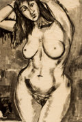 Texas:Early Texas Art - Drawings & Prints, BILL BOMAR (American, 1919-1991). Nude with Bracelet. Ink onsilk paper . 34 x 23 inches (86.4 x 58.4 cm). Signed lower ...