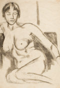Texas:Early Texas Art - Drawings & Prints, BILL BOMAR (American, 1919-1991). Seated Nude. Ink on silkpaper . 33-3/4 x 23-3/4 inches (85.7 x 60.3 cm). Initialed lo...