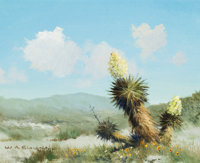 WILLIAM A. SLAUGHTER (American, 1923-2003) Landscape with Yucca Oil on canvas 8 x 10 inches (20