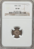 Three Cent Silver: , 1854 3CS XF40 NGC. NGC Census: (7/306). PCGS Population (6/375).Mintage: 671,000. Numismedia Wsl. Price for problem free N...