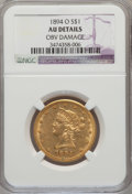 Liberty Eagles, 1894-O $10 -- Obv Damage-- NGC Details. AU. NGC Census: (31/691).PCGS Population (40/350). Mintage: 107,500. Numismedia Wsl...