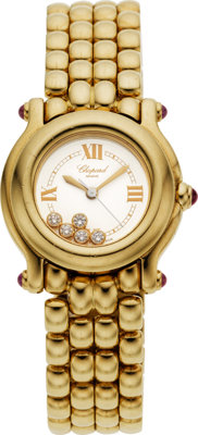 "Chopard Lady's Diamond, Ruby, Gold ""Happy Sport"" Wristwatch, modern"
