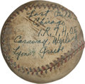 Autographs:Baseballs, 1931 Rube Walberg 107th Career Win Game Ball With InscriptionSigned Ball....