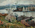Fine Art - Painting, American:Modern  (1900 1949)  , HAYLEY R. LEVER (American, 1876-1958). Gloucester Harbor,Massachusetts, 1918. Oil on canvas . 15-1/2 x 19-1/2 inches(3...