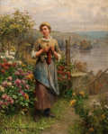 Paintings, PROPERTY FROM A PRIVATE COLLECTION, SAN DIEGO. DANIEL RIDGWAY KNIGHT (American, 1839-1924). Young Woman Knitting. Oil ...