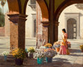 Paintings, TONY EUBANKS (American, b. 1939). Flower Girl of San Miguel . Oil on canvas. 24 x 30 inches (61.0 x 76.2 cm). Signed low...
