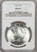 Peace Dollars, 1922 $1 MS66+ NGC. NGC Census: (1274/34). PCGS Population (568/21).Mintage: 51,737,000. Numismedia Wsl. Price for problem ...