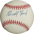 Autographs:Baseballs, 1990's Gerald Ford Single Signed Baseball, PSA/DNA Mint 9....