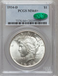 Peace Dollars, 1934-D $1 MS64+ PCGS. CAC. PCGS Population (1181/460). NGC Census:(721/252). Mintage: 1,569,500. Numismedia Wsl. Price for...