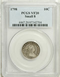 Early Dimes: , 1798 10C Small 8 VF20 PCGS. JR-3, R.5. A moderately worn example ofthis rare variety that sports slate-gray and pearl-gray...