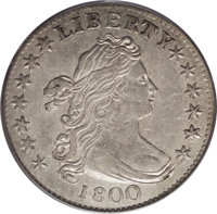 1800 10C AU55 PCGS. JR-1, R.4. On this variety, the obverse shows a die dot over curl #1, another between the 1 and the...