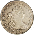Early Dimes: , 1801 10C XF40 PCGS. JR-1, R.4. Lemon, powder-blue, and russetpatina embraces this iridescent rare date early dime. A faint...