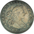 Early Dimes: , 1804 10C 13 Stars on Reverse VF20 PCGS. JR-1, R.5. Dusky milky-grayand sky-blue toning embraces this richly detailed rare ...