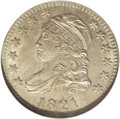 Bust Dimes: , 1821 10C Large Date MS64 NGC. Ex: Reed. JR-1, R.2. Light chestnut and powder-blue toning graces this satiny and generally s...