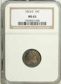 Bust Dimes: , 1823/2 10C Large Es MS63 NGC. JR-3, R.2. Charcoal-gray dominatesthe obverse fields with lighter areas near and on Liberty....